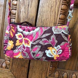 Vera Bradley Pink Brown Floral Print Small Bag